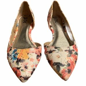 Brash Pastel Floral Flat Shoe Size 9